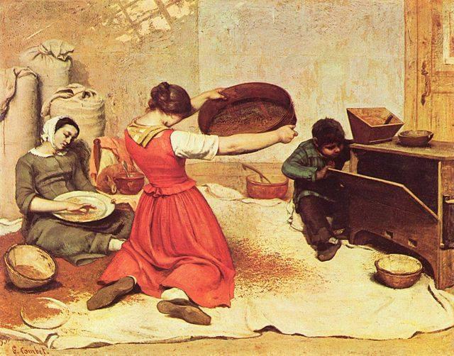 Donne-che-passano-al-setaccio-il-grano-di-Gustave-Courbet