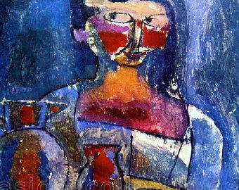 Klee dona con brocca in blu