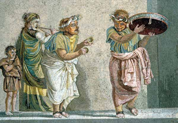 Pompei. mosaico con musici ambulanti, II sec d.C.