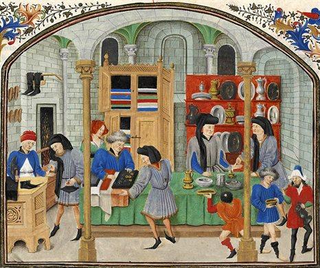 mercato medievale stoffe