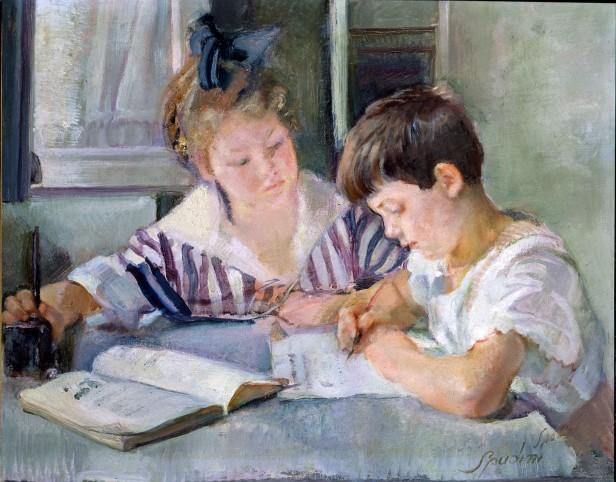 Armando-Spadini-Firenze-1883-Roma-1925-Bambini-che-studiano-1918-olio-su-tela-87x101-cm-Roma-Banca-dItalia2
