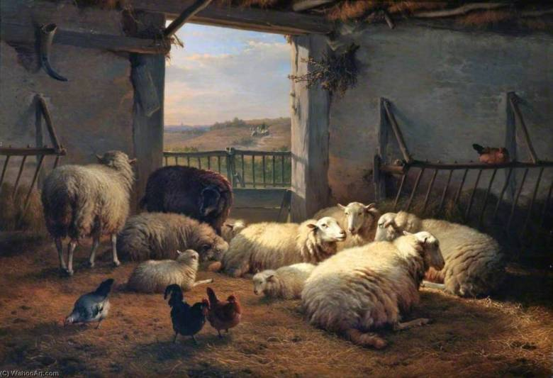 Eugen-Joseph-Verboeckhoven-Sheep-and-Hens-in-a-Barn